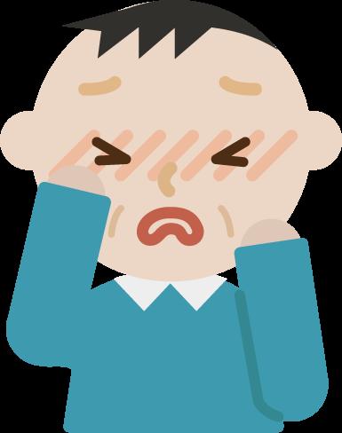 花粉症の中年男性のイラスト(目のかゆみ)