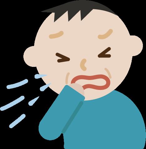 花粉症の中年の男性のイラスト(くしゃみ)