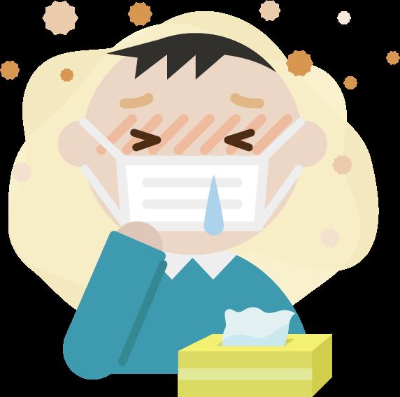 花粉症の中年男性のイラスト(マスク・鼻水)2