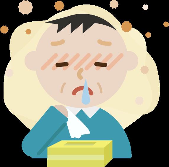 花粉症の中年男性のイラスト(鼻水)2