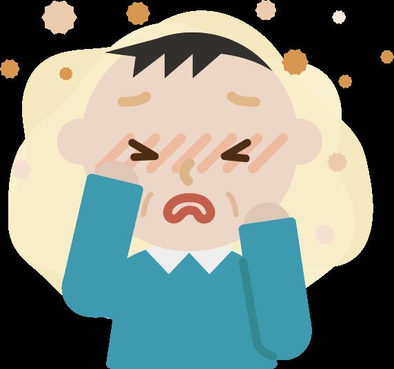 花粉症の中年男性のイラスト(目のかゆみ)2