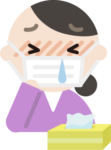 花粉症の中年女性のイラスト(マスク・鼻水)