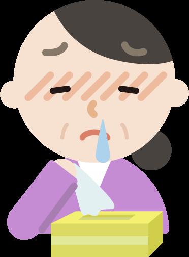 花粉症の中年女性のイラスト(鼻水)