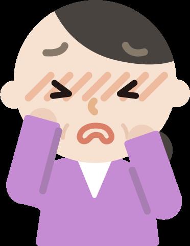 花粉症の中年女性のイラスト(目のかゆみ)