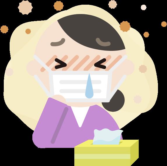 花粉症の中年女性のイラスト(マスク・鼻水)2