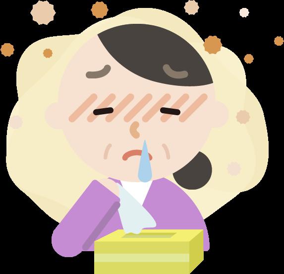 花粉症の中年女性のイラスト(鼻水)2
