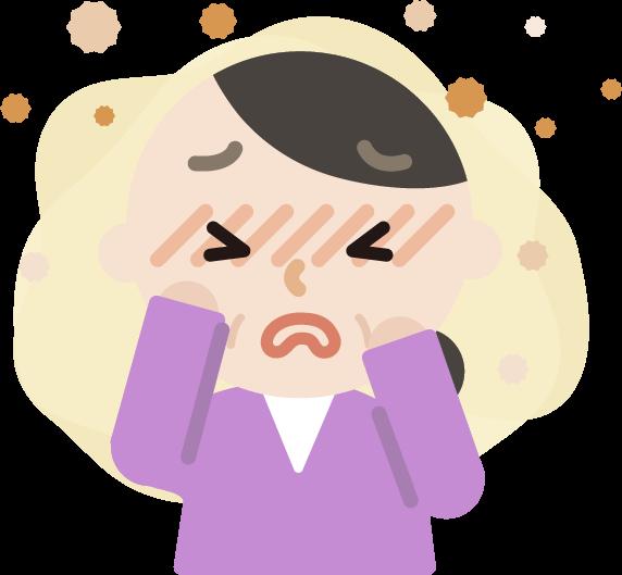 花粉症の中年女性のイラスト(目のかゆみ)2