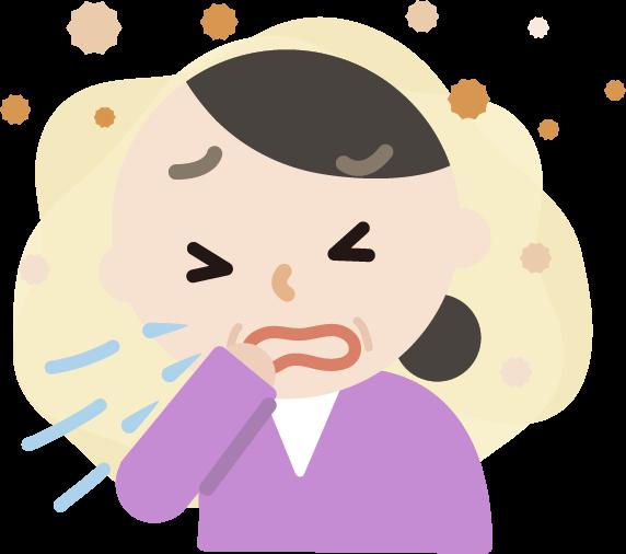 花粉症の中年女性のイラスト(くしゃみ)2
