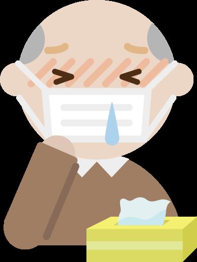 花粉症の高齢者の男性のイラスト(マスク・鼻水)