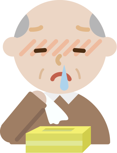 花粉症の高齢者の男性のイラスト(鼻水)
