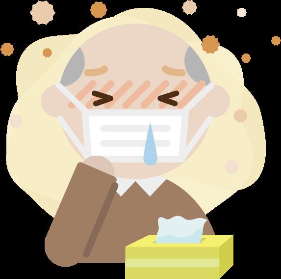 花粉症の高齢者の男性のイラスト(マスク・鼻水)2