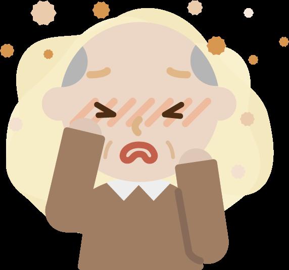 花粉症の高齢者の男性のイラスト(目のかゆみ)2