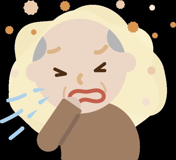 花粉症の高齢者の男性のイラスト(くしゃみ)2
