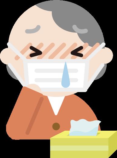 花粉症の高齢者の女性のイラスト(マスク・鼻水)