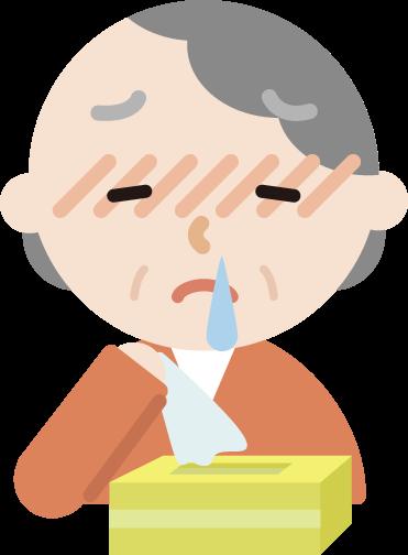 花粉症の高齢者の女性のイラスト(鼻水)