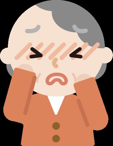 花粉症の高齢者の女性のイラスト(目のかゆみ)