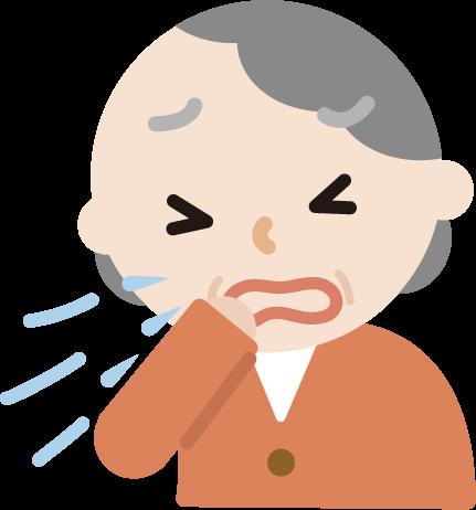 花粉症の高齢者の女性のイラスト(くしゃみ)