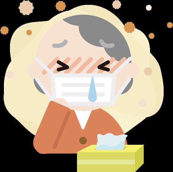 花粉症の高齢者の女性のイラスト(マスク・鼻水)2