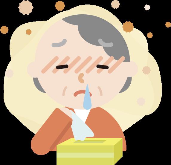 花粉症の高齢者の女性のイラスト(鼻水)2