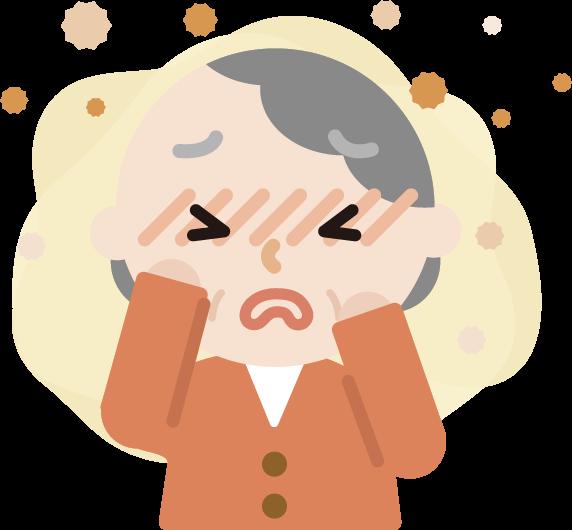 花粉症の高齢者の女性のイラスト(目のかゆみ)2