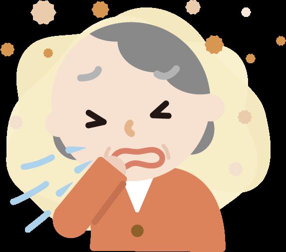 花粉症の高齢者の女性のイラスト(くしゃみ)2
