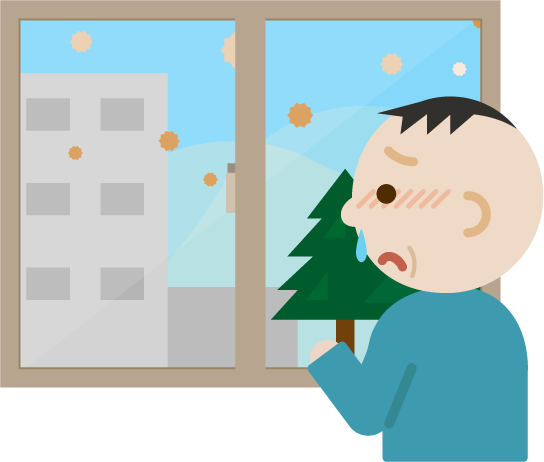 花粉症の中年男性が窓の外を見るイラスト