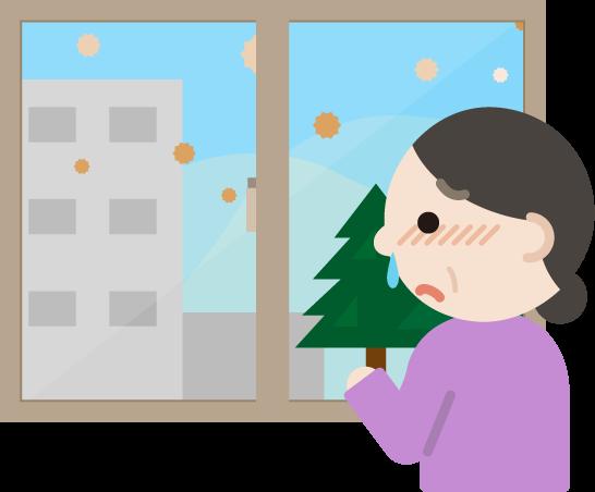 花粉症の中年女性が窓の外を見るイラスト