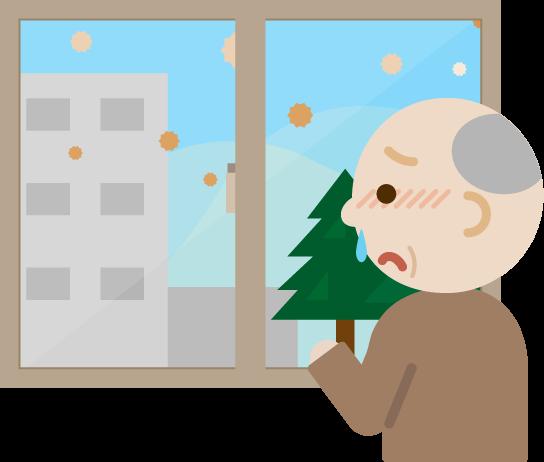 花粉症の高齢者の男性が窓の外を見るイラスト