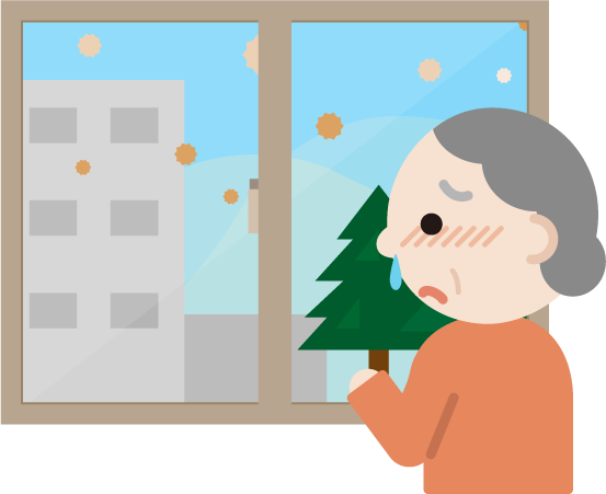 花粉症の高齢者の女性が窓の外を見るイラスト