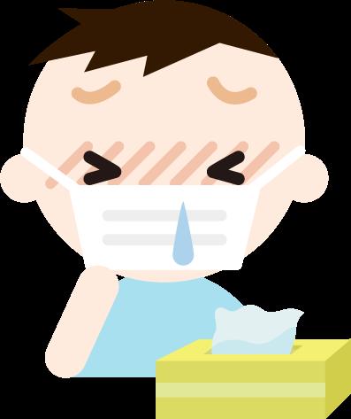 花粉症の男の子のイラスト(マスク・鼻水)