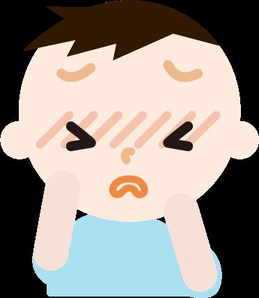 花粉症の男の子のイラスト(目のかゆみ)