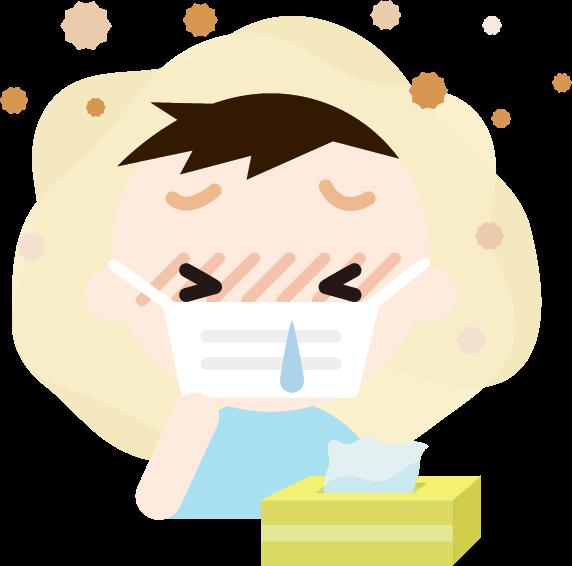 花粉症の男の子のイラスト(マスク・鼻水)2