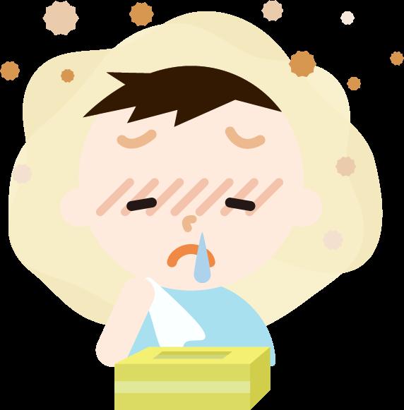花粉症の男の子のイラスト(鼻水)2