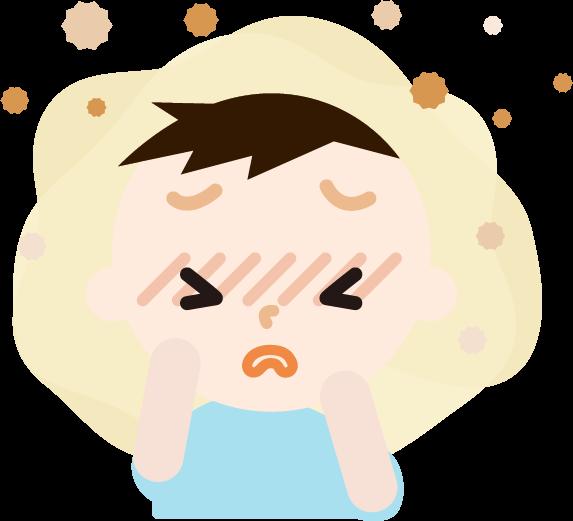 花粉症の男の子のイラスト(目のかゆみ)2