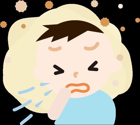 花粉症の男の子のイラスト(くしゃみ)2
