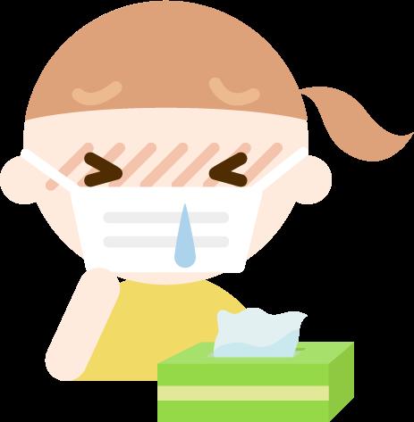 花粉症の女の子のイラスト(マスク・鼻水)