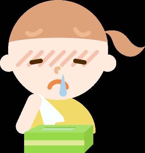 花粉症の女の子のイラスト(鼻水)