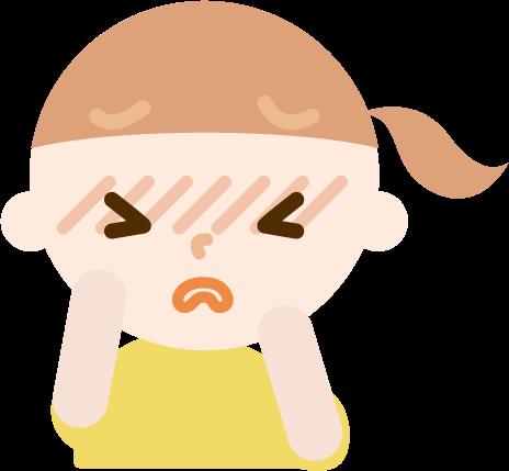花粉症の女の子のイラスト(目のかゆみ)