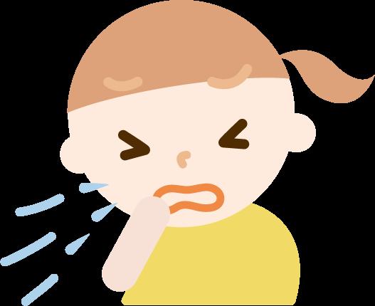 花粉症の女の子のイラスト(くしゃみ)