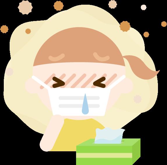 花粉症の女の子のイラスト(マスク・鼻水)2