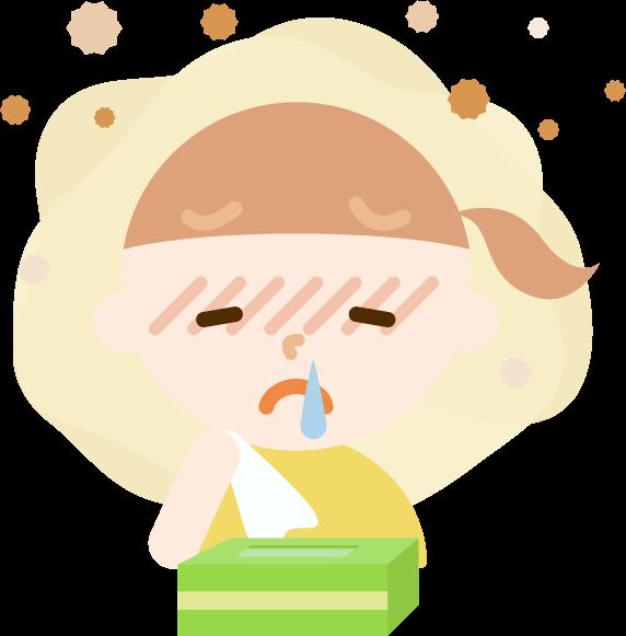 花粉症の女の子のイラスト(鼻水)2