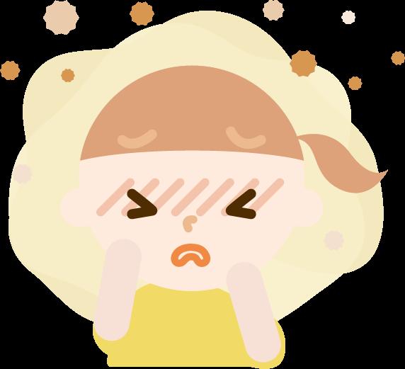 花粉症の女の子のイラスト(目のかゆみ)2