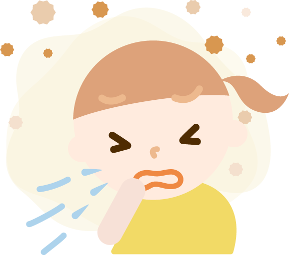 花粉症の女の子のイラスト(くしゃみ)2