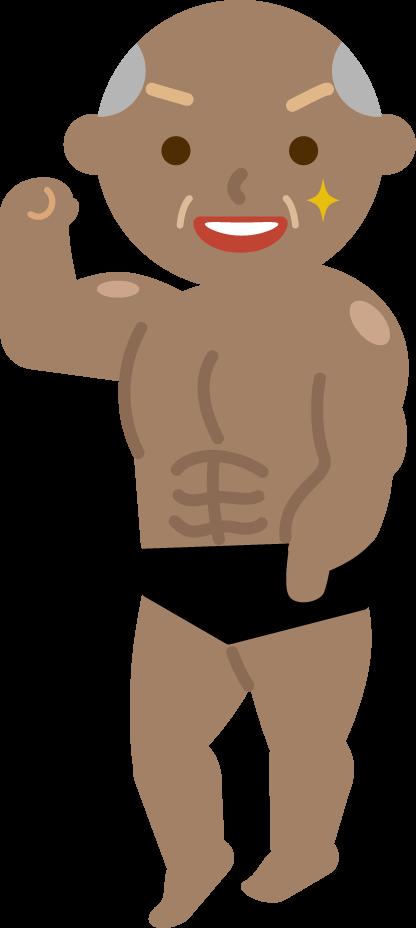 マッチョの高齢者の男性のイラスト