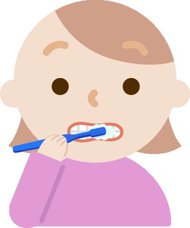 歯磨きをする若い女性のイラスト