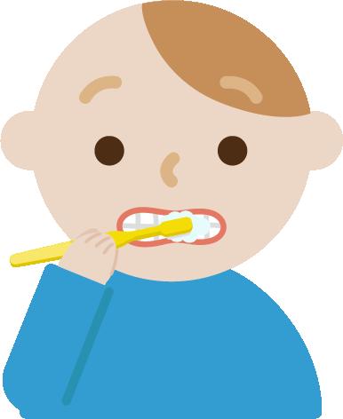 歯磨きをする若い男性のイラスト
