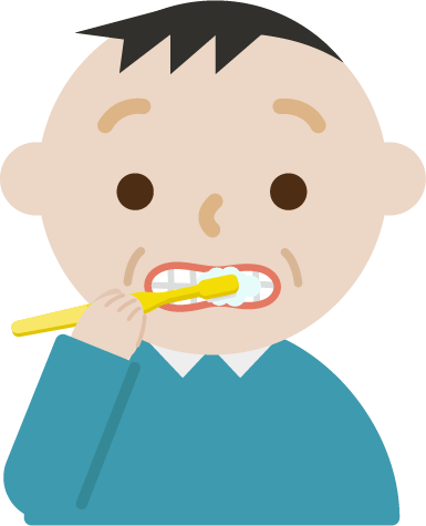 歯磨きをする中年男性のイラスト