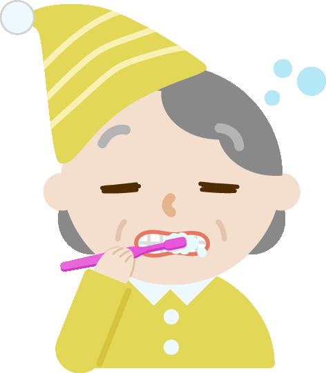 パジャマで歯磨きをする高齢者の女性のイラスト