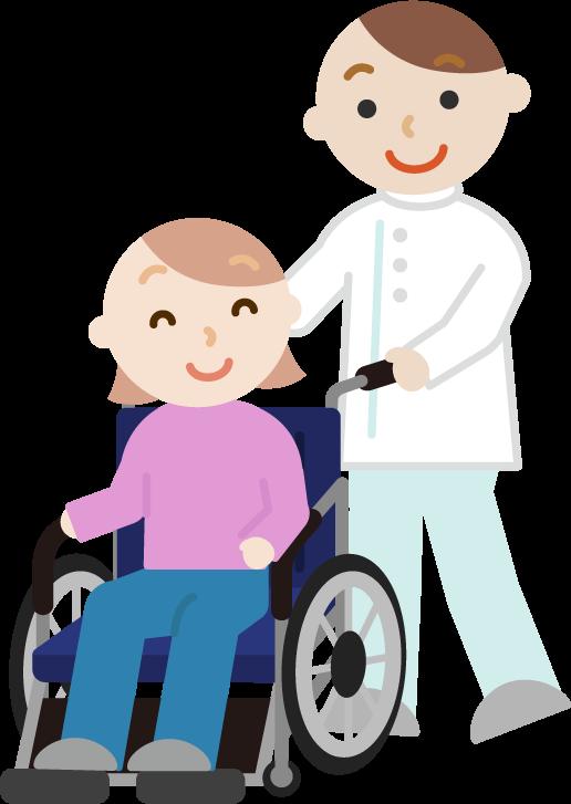 車椅子の若者の女性と介護士のイラスト