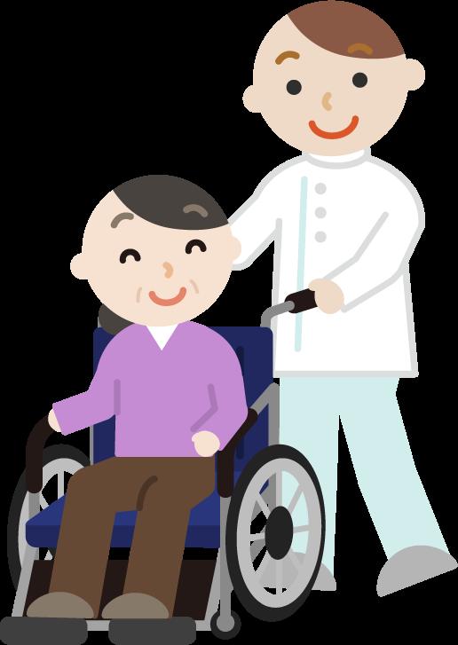 車椅子の中年の女性と介護士のイラスト